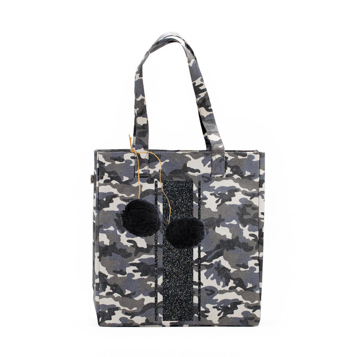 Grey Camo Upright Bag with Black Glitter Triple Stripe and FREE Black Pom Poms Only $86 with code: GIFT86