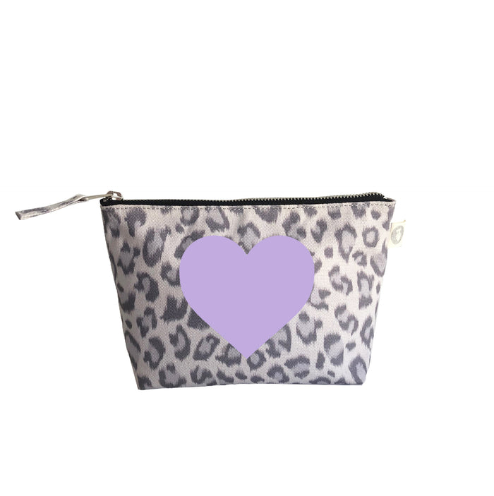 Makeup Bag: Grey Leopard with Lavender Matte Heart
