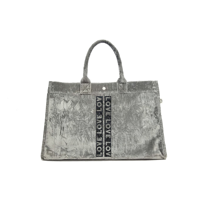 East West Bag: Grey Crushed Velvet with Black Glitter LOVE Stripe