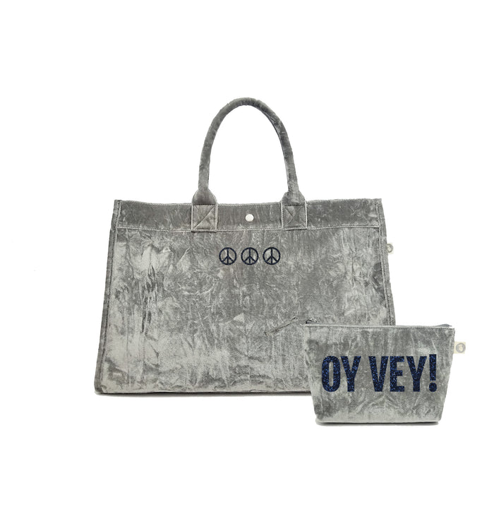 Grey Crushed Velvet East West Bag with Blue Glitter Three Mini Peace Signs + FREE Makeup Bag with Blue Glitter OY VEY! ($240 value for only $184 with code: GIFT184)