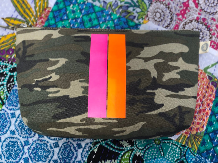 Clutch Bag Green Camo with new PINK/ORANGE Stripe