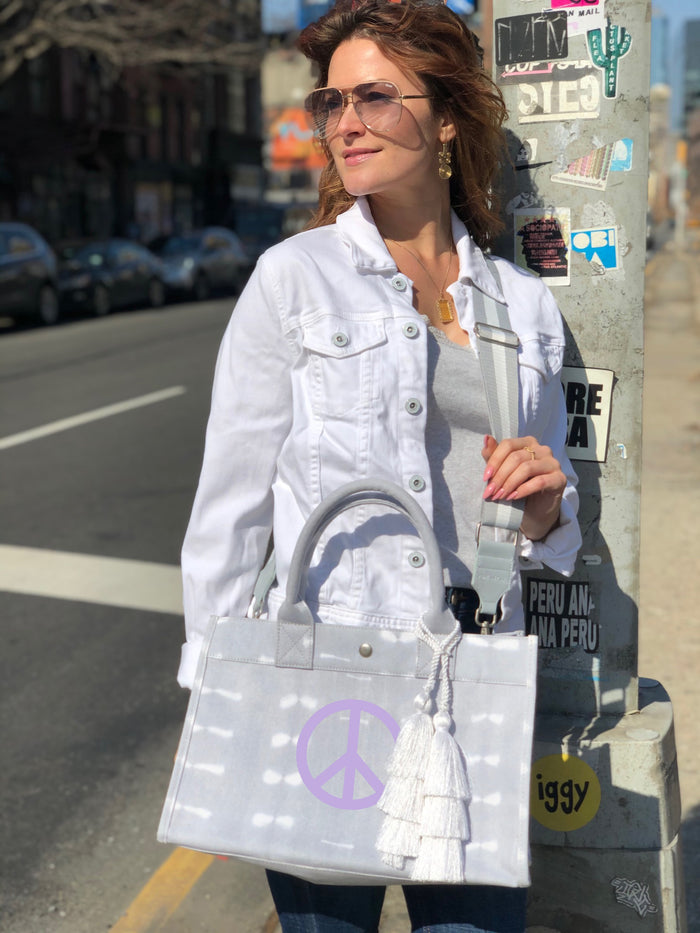 Grey Shibori Midi East West Crossbody: Lavender Matte Peace Sign