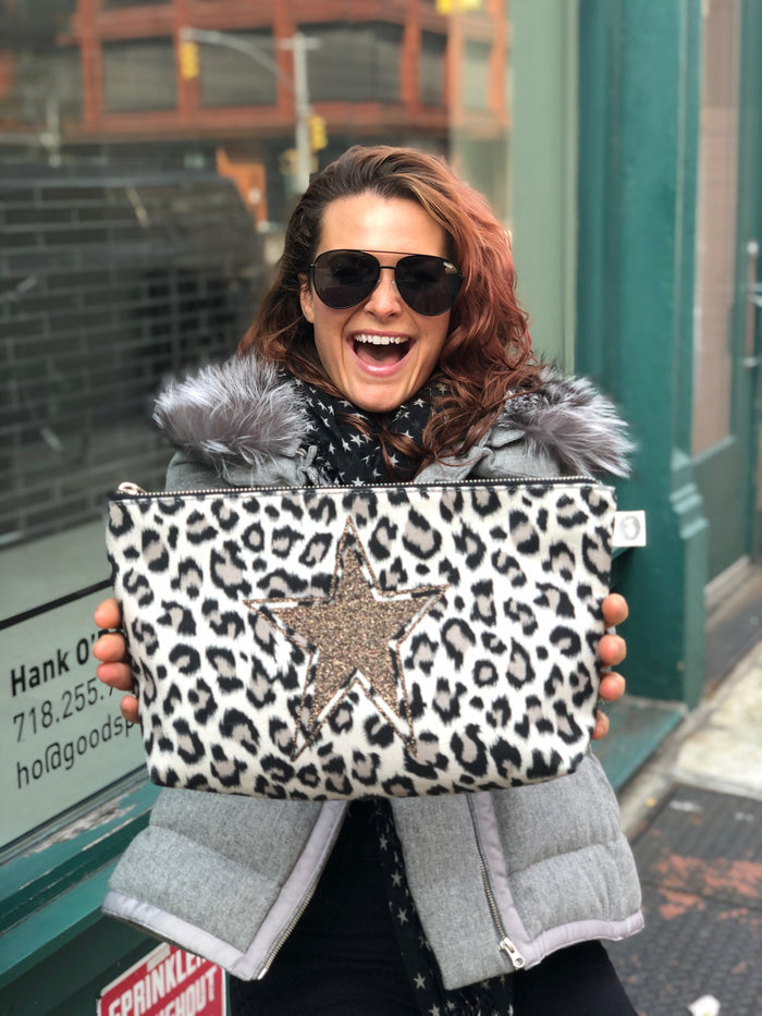 Clutch Bag Leopard with Chocolate Glitter Star