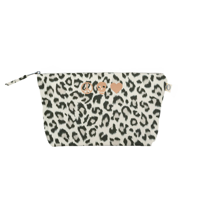 Peace Skull Heart: Clutch Bag Leopard with Rose Gold