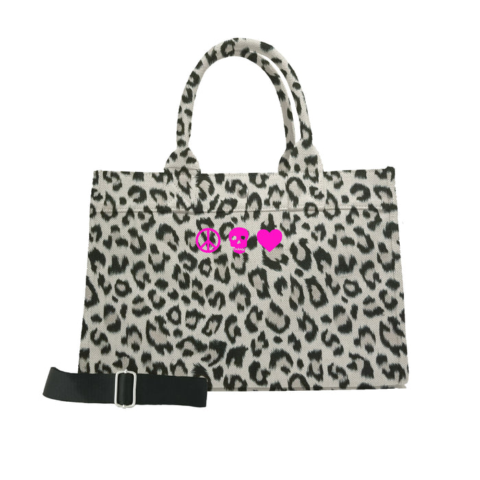 Midi East West Bag: Leopard with Neon Pink Mini Peace/Skull/Heart