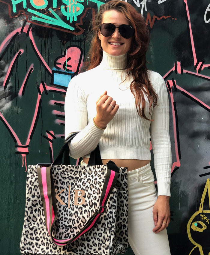 Monogram Split Letter: Leopard Luxe North South Bag