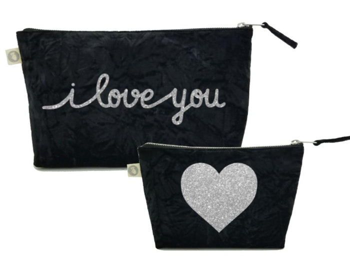 I Love You Collection: Clutch & Makeup Bag Special Set in Black Crushed Velvet