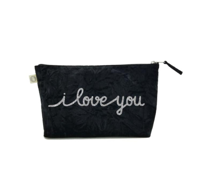 Clutch in Black Crushed Velvet with Silver Glitter I Love You