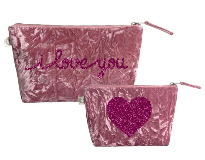 I Love You Collection: Clutch & Makeup Bag Special Set in Petal Pink Crushed Velvet