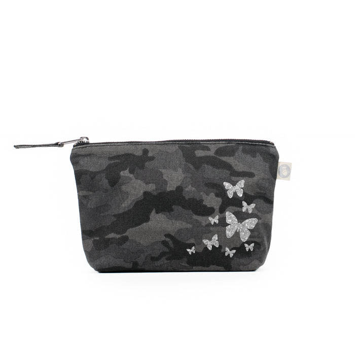 Makeup Bag Black Camo with Silver Glitter Scatter Butterflies