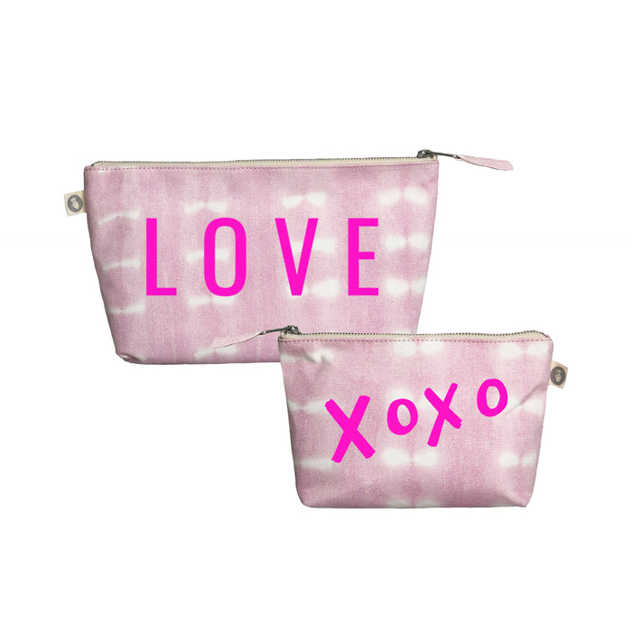 Special Mother's Day Bundle Pink Shibori Clutch & Makeup Neon Pink LOVE & XOXO
