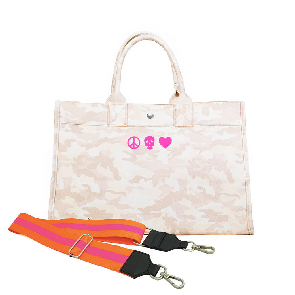 Midi East West Bag: Blush Camouflage with Neon Pink Mini Peace/Skull/Heart