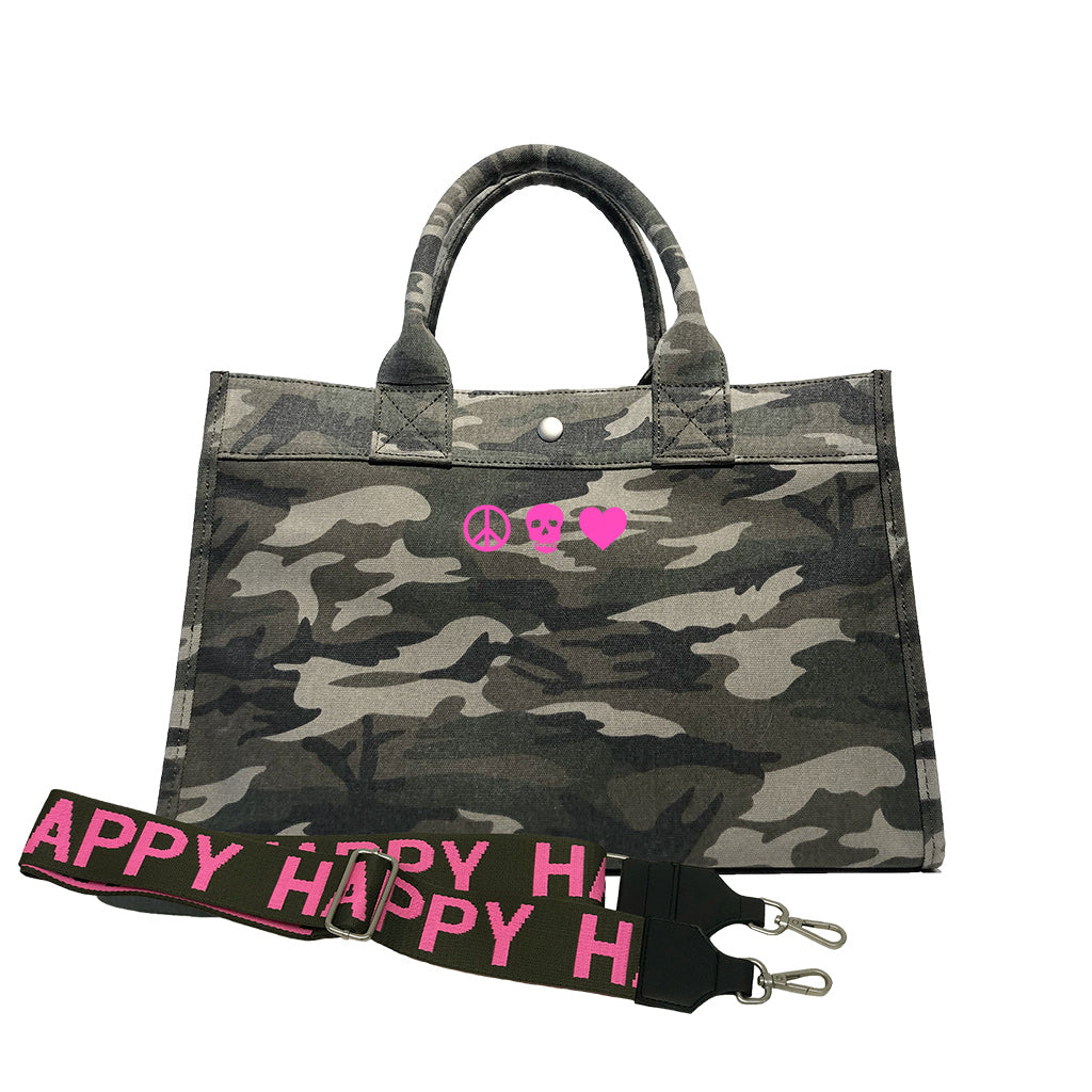 Midi East West Bag: Green Camouflage with Neon Pink Mini Peace/Skull/Heart