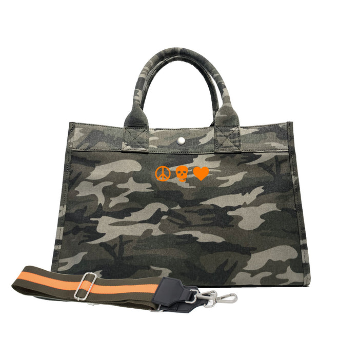 Midi East West Bag: Green Camouflage with Neon Orange Mini Peace/Skull/Heart