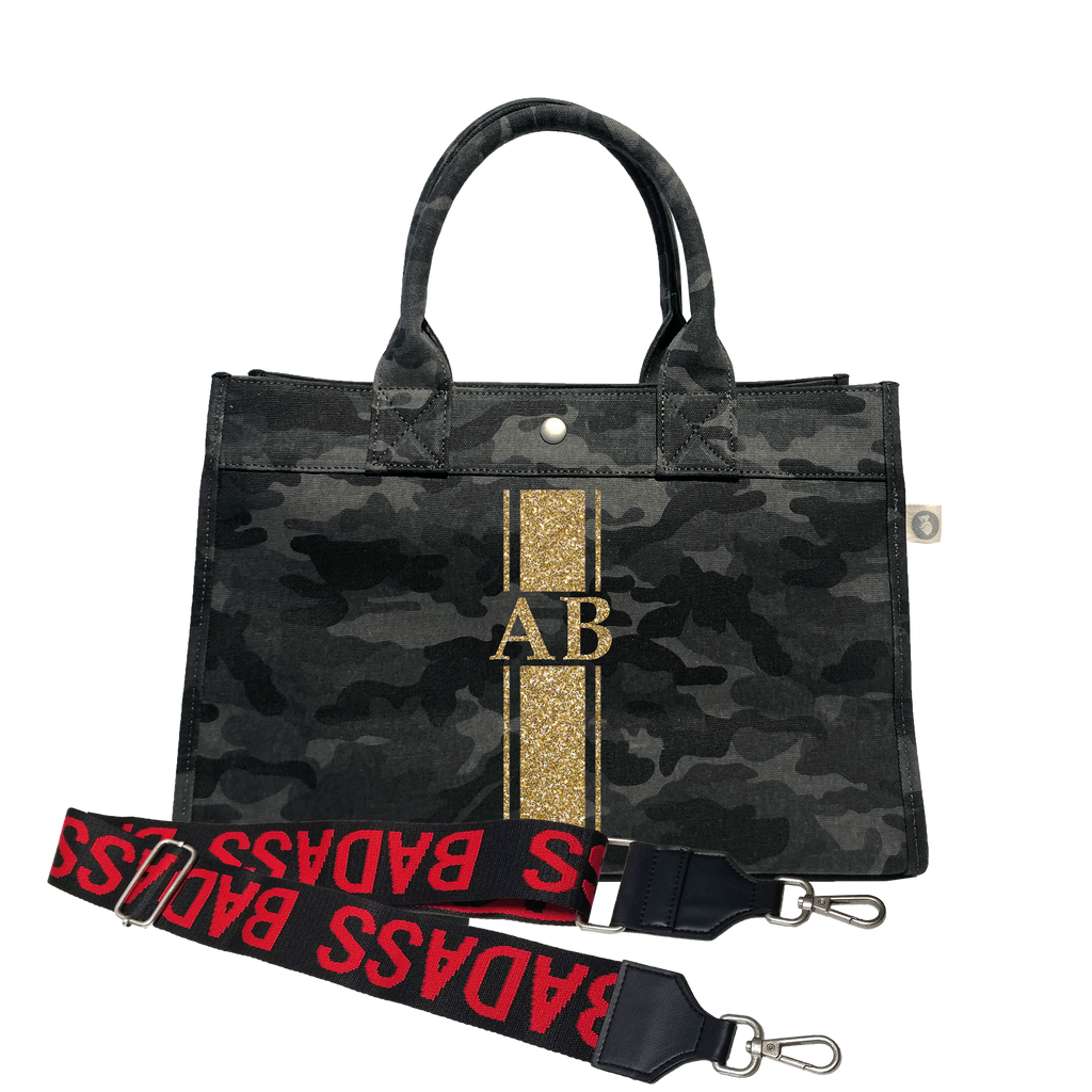 Midi East West Bag: Black Camouflage with Gold Glitter Monogram Stripe & Black/Red BADASS Strap