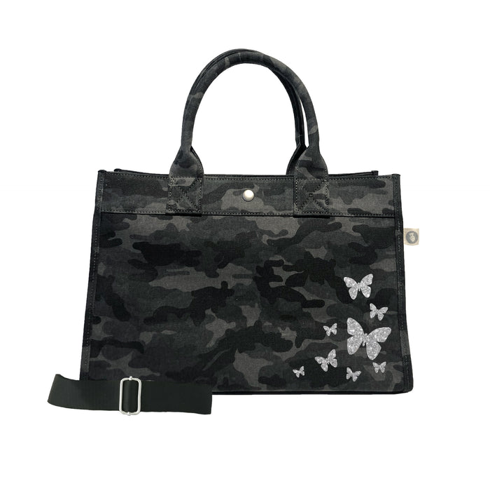 Midi East West Bag: Black Camo with Silver Glitter Scatter Butterflies