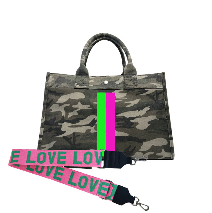 Midi East West Bag: Green Camouflage with Neon Pink/Green Stripe + Pink/Green LOVE Strap