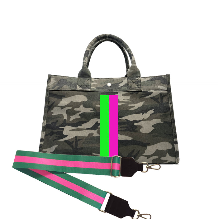 Midi East West Bag: Green Camouflage with Neon Pink/Green Stripe + Pink/Green Stripe Strap