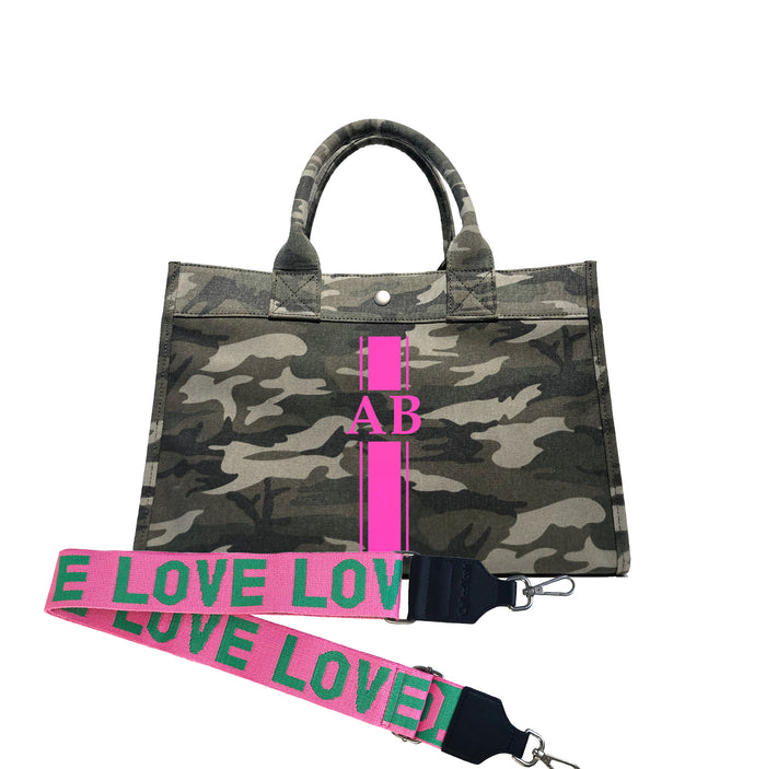 Midi East West Bag: Green Camouflage with Neon Pink Monogram Stripe + Pink/Green LOVE Strap