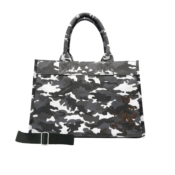 Midi East West Bag: Grey Camo with Chocolate Glitter Scatter Butterflies