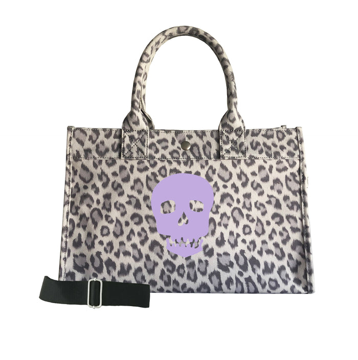Midi East West Bag: Grey Leopard with Lavender Matte Skull