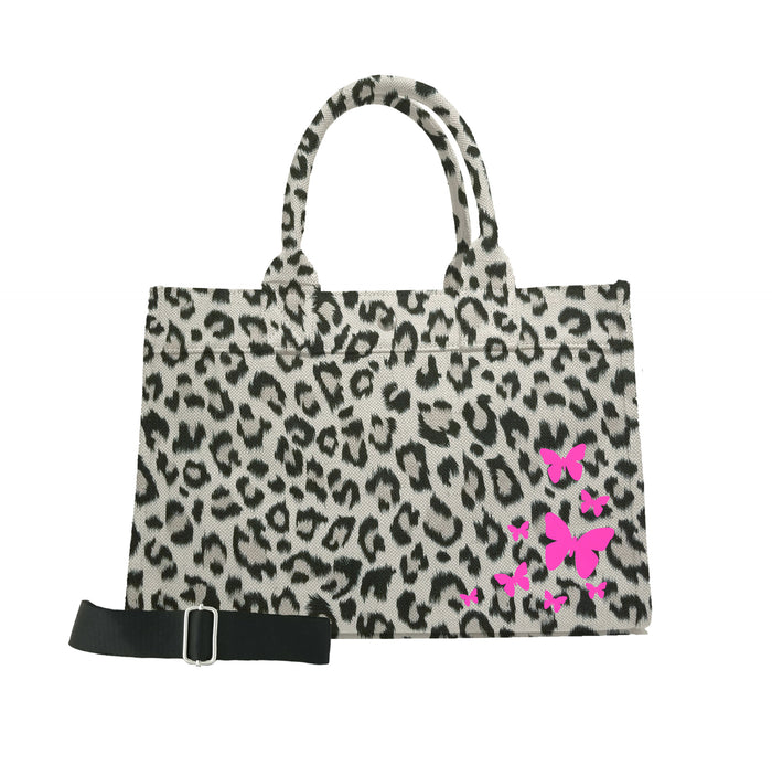 Midi East West Bag: Leopard with Neon Pink Scatter Butterflies