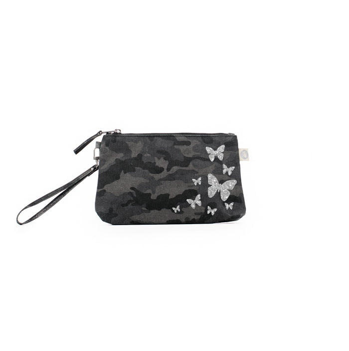 Mini Luxe Clutch Black Camo with Silver Glitter Scatter Butterflies