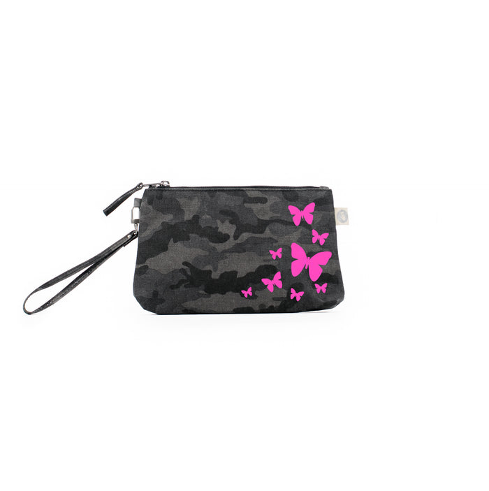 Mini Luxe Clutch Black Camo with Neon Pink Scatter Butterflies
