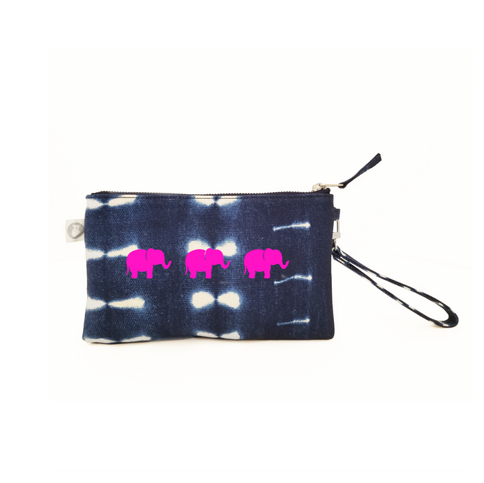Mini Luxe Clutch with Wristlet: Blue Shibori with Neon Pink 3 Elephants