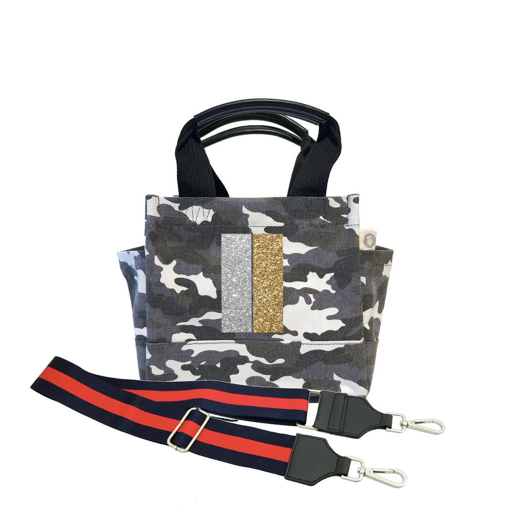 Mini Luxe North South: Grey Camo with Silver/Gold Stripe + Navy/Red Stripe Strap