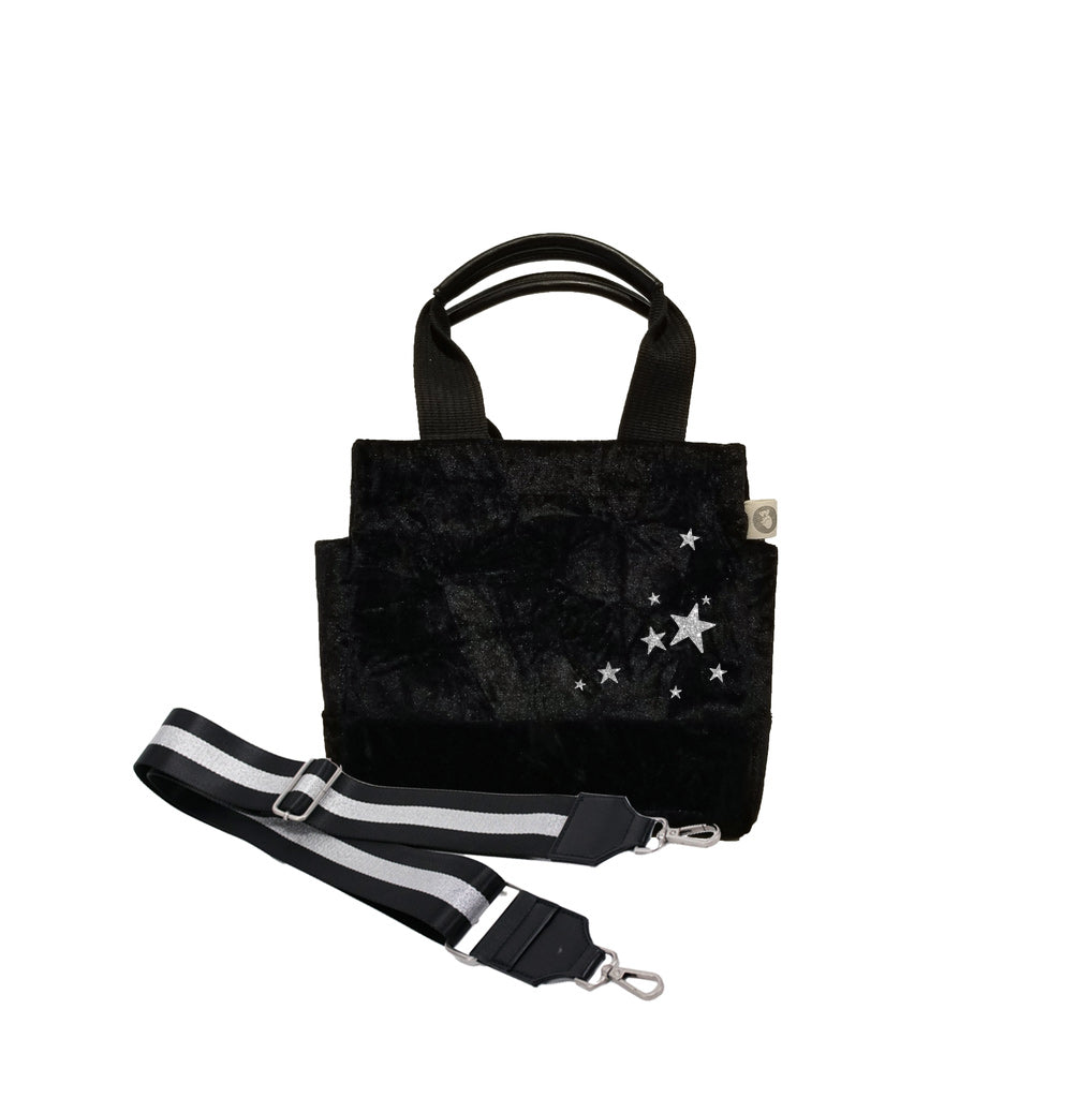 Mini Luxe North South: Black Crushed Velvet with Silver Scatter Stars + Black/Silver Stripe Strap