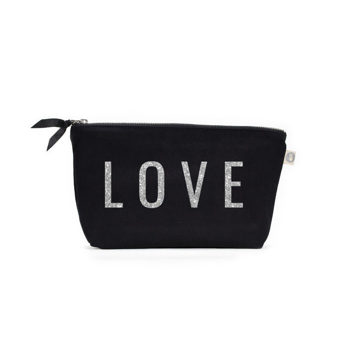 Clutch Bag Black with Silver Glitter LOVE