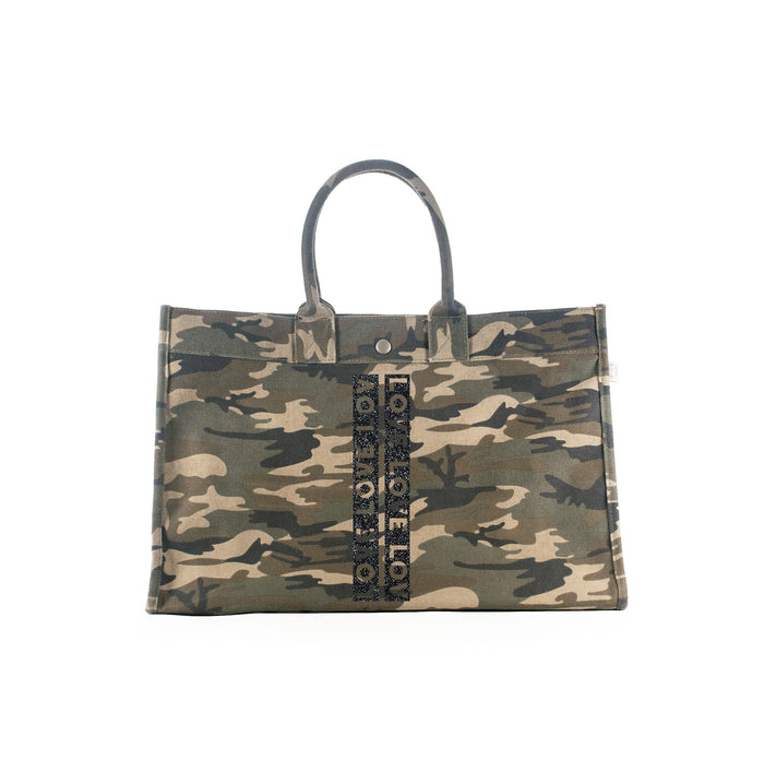 East West Bag Green Camo with Black Glitter LOVE Stripes
