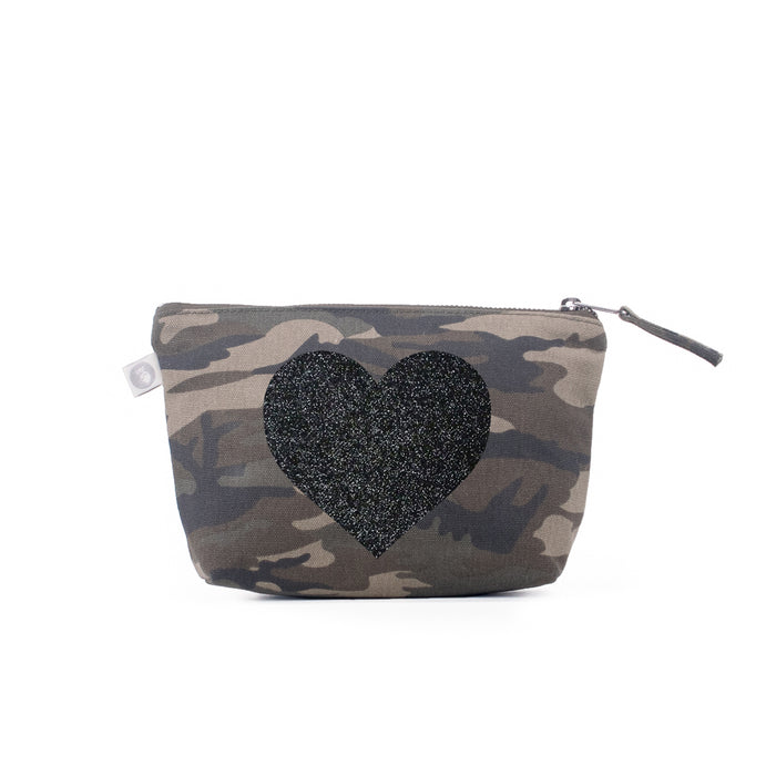 Green Camouflage Makeup Bag with Black Glitter Heart