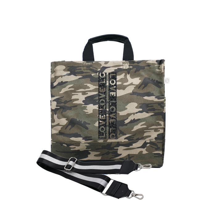 Green Camo Luxe North South Bag with Black Glitter LOVE Stripe and Silver/Black Stripe Strap