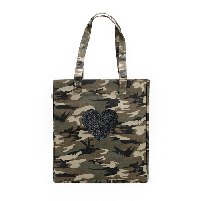 Upright Bag: Green Camouflage with Black Glitter Heart