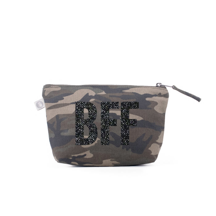 Makeup Bag Green Camo with Black Glitter BFF