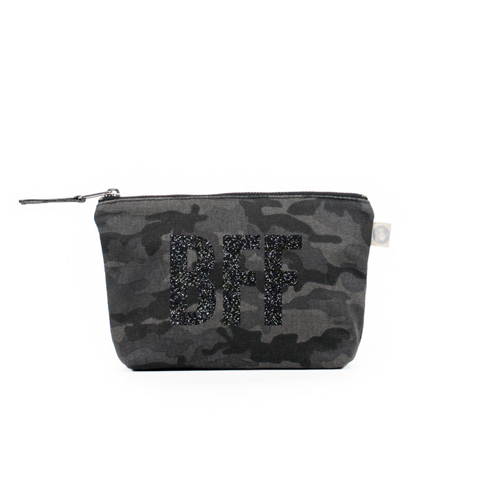 Makeup Bag Black Camo with Black Glitter BFF