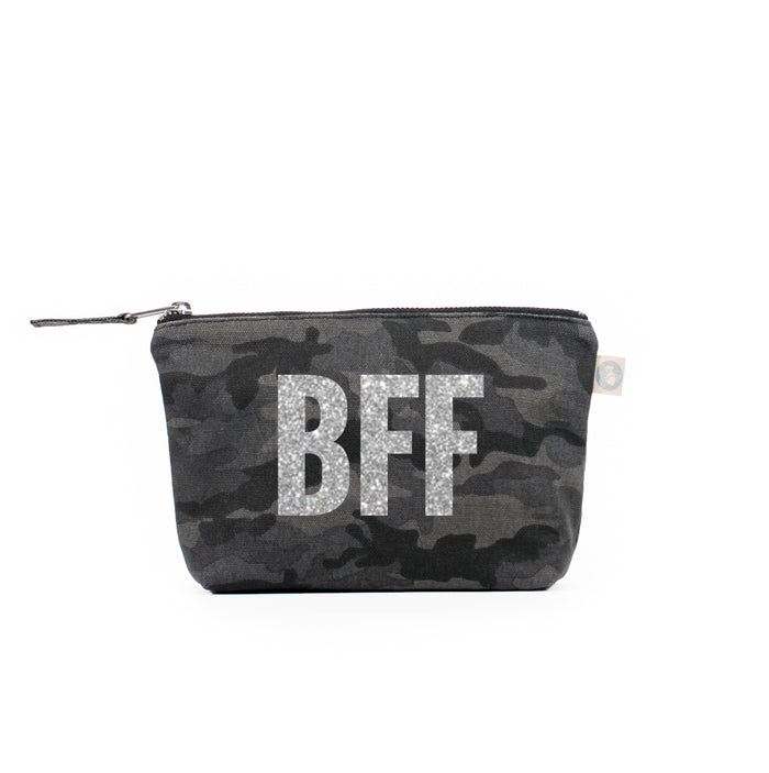 Makeup Bag Black Camo with Silver Glitter BFF