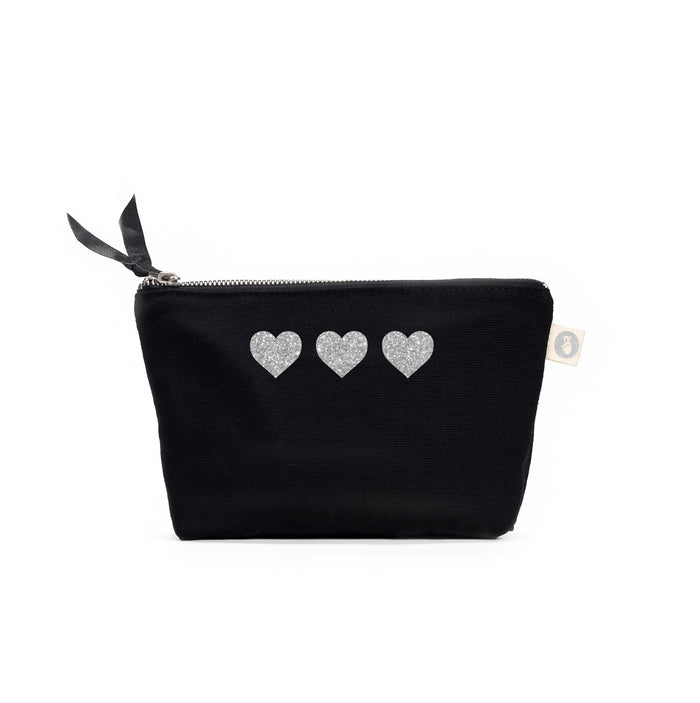 Black Makeup Bag with Silver Glitter Mini 3 Hearts