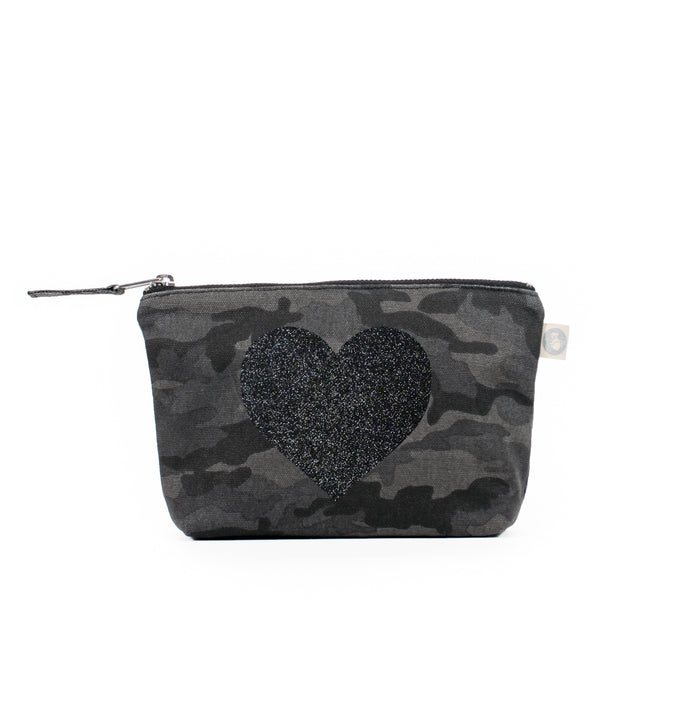 Black Camouflage Makeup Bag with Black Glitter Heart