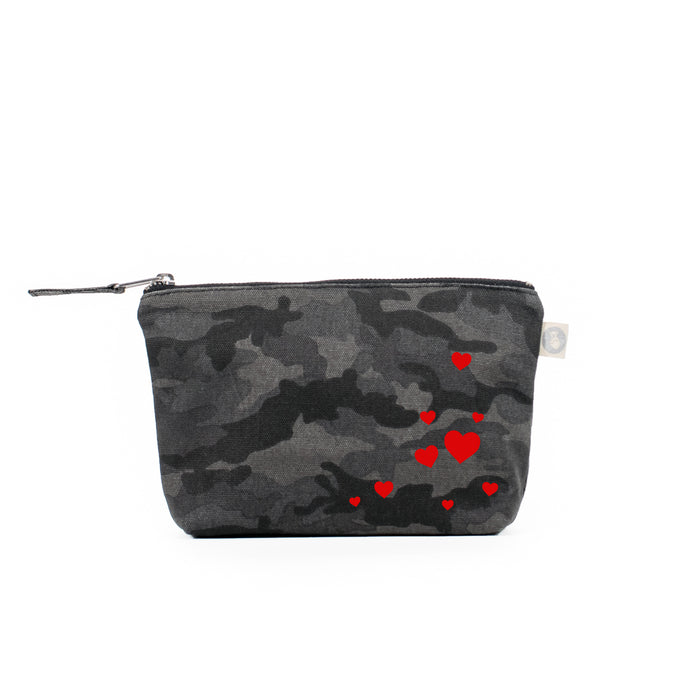 Black Camouflage Makeup Bag with Red Matte Scattered Hearts