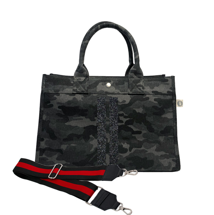 Midi East West Bag: Black Camouflage with Black Glitter Double Stripe & Black/Red Stripe Strap