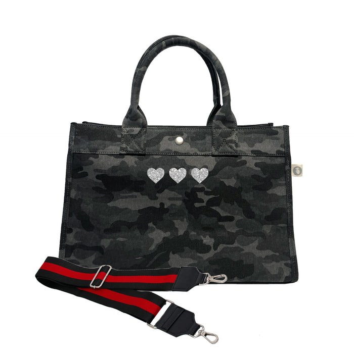 Midi East West Bag: Black Camouflage with Silver Glitter Mini Hearts & Black/Red Stripe Strap