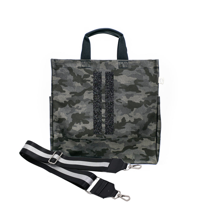 Black Camo Luxe North South Bag with Black Glitter Double Stripe and Silver/Black Stripe Strap