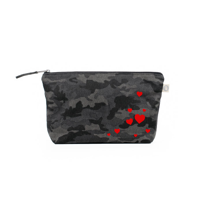Black Camouflage Clutch with Red Matte Scattered Hearts