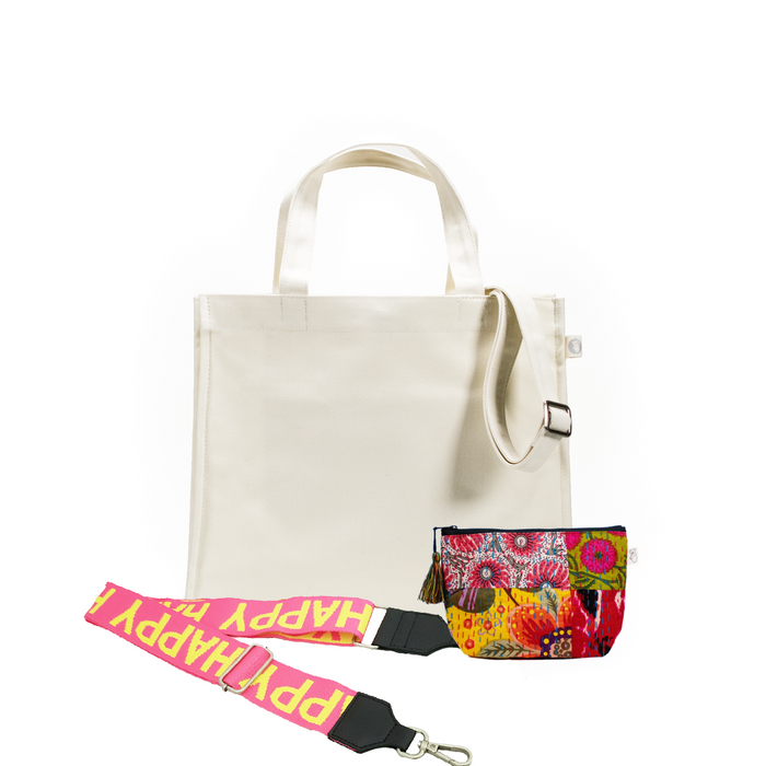 Natural Magazine Bag with Yellow/Pink HAPPY Strap & Bright Multi Boho Makeup Bag (Only $64, plus a FREE Strap + Makeup Bag with code: SUMMER64)