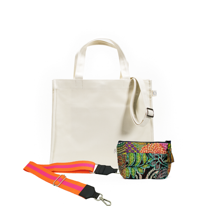 Natural Magazine Bag with Orange/Pink Strap & Dark Multi Boho Makeup Bag (Only $64, plus a FREE Strap + Makeup Bag with code: SUMMER64)
