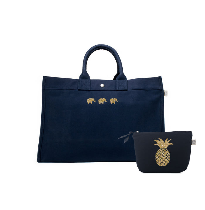 Navy East West Bag with Gold Glitter Three Mini Elephants + FREE Makeup Bag with Gold Glitter Pineapple ($240 value for only $184 with code: GIFT184)