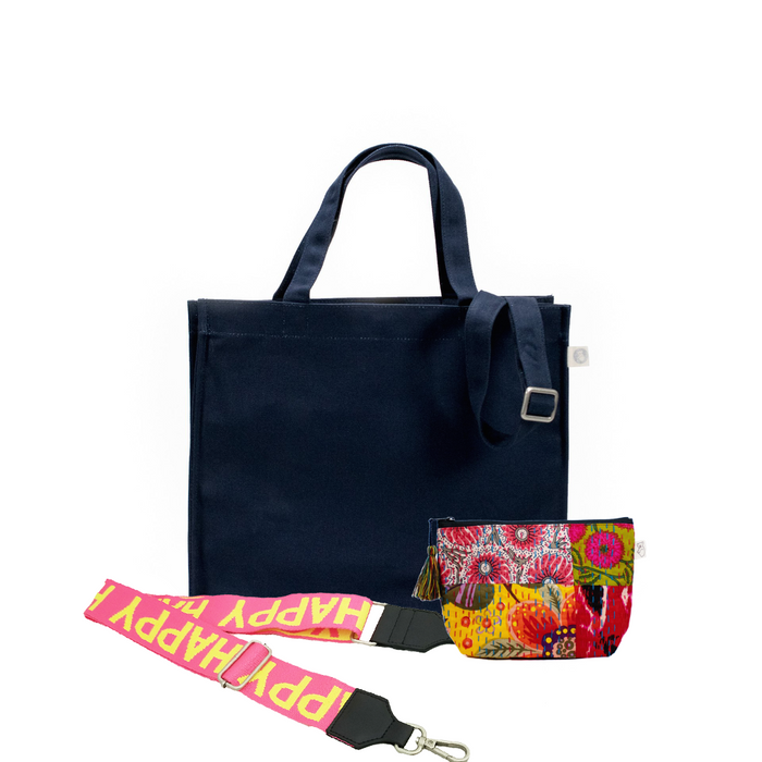 Navy Magazine Bag with Yellow/Pink HAPPY Strap & Bright Multi Boho Makeup Bag (Only $64, plus a FREE Strap + Makeup Bag with code: SUMMER64)